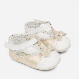 Zapato combinado bebe dorado y blanco. Mayoral-NewBorn (Ref.9806)