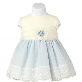 Vestido combinado con tul de plumeti. Miranda textil (Ref. 23/0114/V)