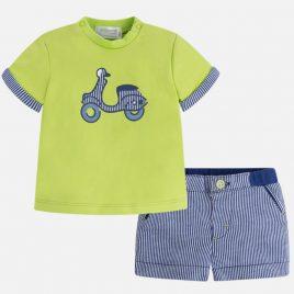 Conjunto camiseta y pantalon corto rayas. Mayoral-NewBorn (Ref. 1236)