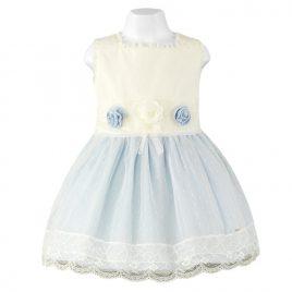 Vestido Infantil con tul de plumeti en beige de Miranda (Ref. 23/0214/V)