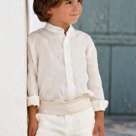 Conjunto camisa y pantalón en lino . Artesanía Amaya (Ref. 111598)