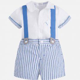 Conjunto camisa, pantalon corto rayas y tirante. Mayoral-New Born (Ref. 1224)