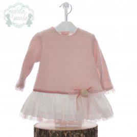 Vestido bebe combinado lana y tela. Familia Misuri. Marta y Paula (Ref. 5112)