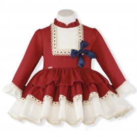 Vestido Infantil Manga Larga tela y plumeti. Miranda (Ref. 24/0234/V)