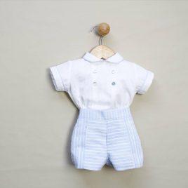 Conjunto Camisa Lino y Pantalon Corto Rayas. Confecciones Popys (Ref. 20628)