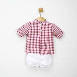 Conjunto Camisa Cuadros y Pantalon Corto Lino. Confecciones Popys (Ref. 20710)