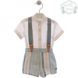 Camisa Manga Corta  y Pantalón Corto con Tirantes, Colección Klimt. MARTA Y PAULA (Ref.0250)