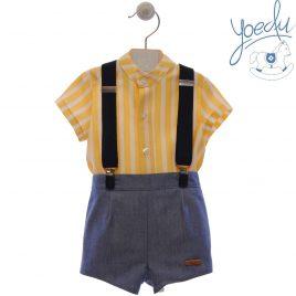 Camisa Manga Corta  y Pantalón Corto con Tirantes, Colección Girasoles. Yoedu (Ref.0263)