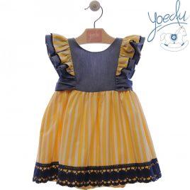 Vestido Infantil Vaquero y Rayas . Familia Girasol. Yoedu (Ref. 0532)