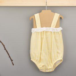Pelele Tirante Fino Puntilla Color Amarillo. Familia Vichy. Babidu. (Ref. 15230)