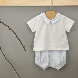 Conjunto Celeste 2 Piezas. Camiseta C/Bebe con Ranita. Familia Vichy. Babidu. (Ref. 42230)