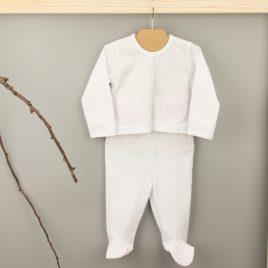 Conjunto Primera Puesta de Camiseta y Polaina en tono Rosa. Familia Vichy . Babidu. (Ref. 52230)