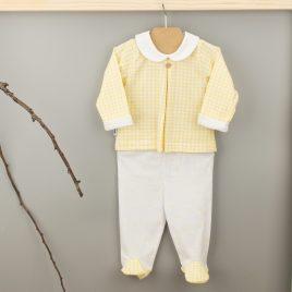 Conjunto Primera Puesta de Camiseta y Polaina en tono Amarillo. Familia Vichy . Babidu. (Ref. 56230)