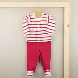 Conjunto Primera Puesta de Camiseta en Rayas y Polaina en tono Rojo. Familia Rayas. Babidu. (Ref. 57209)