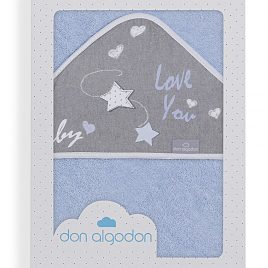 Capa de Baño Love You Azul 100% Algodon. Don Algodon (Ref. D 1201)