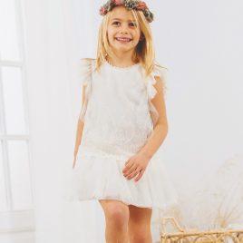 Vestido Infantil Talle Bajo Tul Bordado . Artesanía Amaya (Ref. 533190)