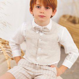 Conjunto Niño Arras de Camisa Manga Larga y Pantalón Corto Rayas. Artesanía Amaya (Ref. 533294)