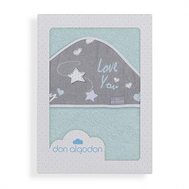 Capa de Baño Love You Verde Agua 100% Algodon. Don Algodon (Ref. D 1201)
